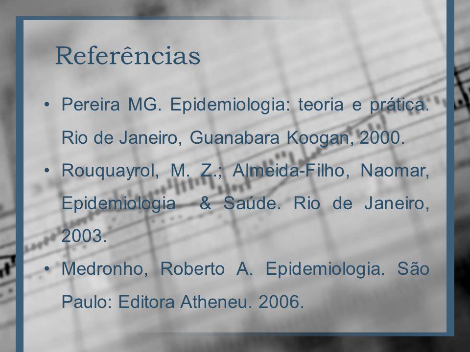 Referências Pereira MG. Epidemiologia: teoria e prática. Rio de Janeiro, Guanabara Koogan, 2000.
