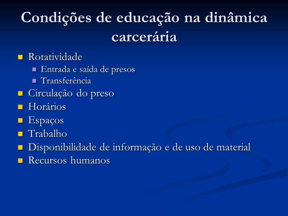 Condições de educação na dinâmica carcerária