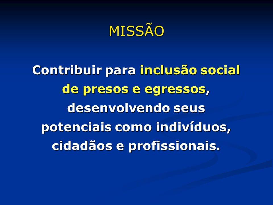 MISSÃO Contribuir para inclusão social de presos e egressos, desenvolvendo seus potenciais como indivíduos, cidadãos e profissionais.