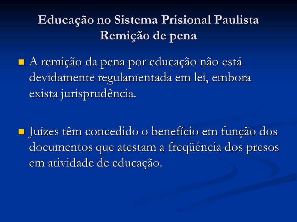 Educação no Sistema Prisional Paulista Remição de pena