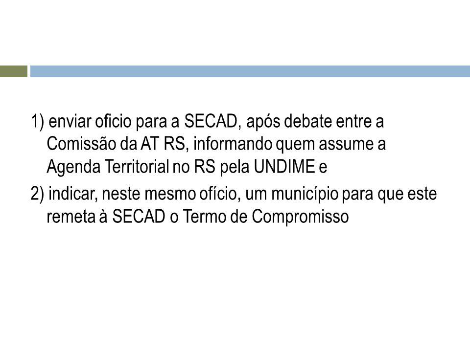 1) enviar oficio para a SECAD, após debate entre a Comissão da AT RS, informando quem assume a Agenda Territorial no RS pela UNDIME e