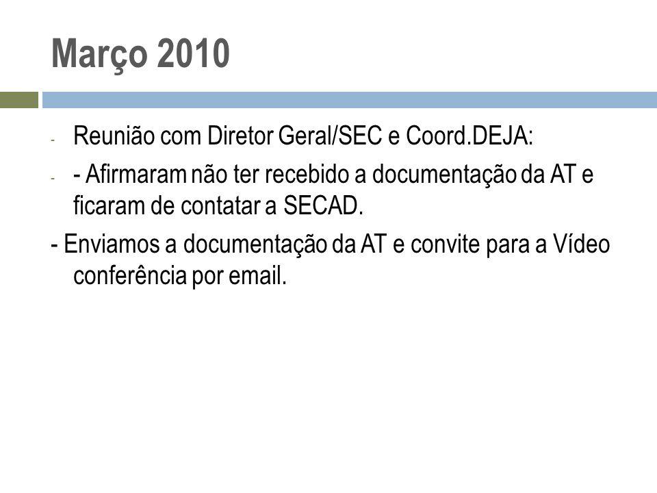 Março 2010 Reunião com Diretor Geral/SEC e Coord.DEJA: