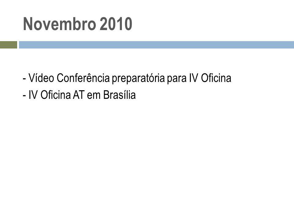 Novembro 2010 - Vídeo Conferência preparatória para IV Oficina