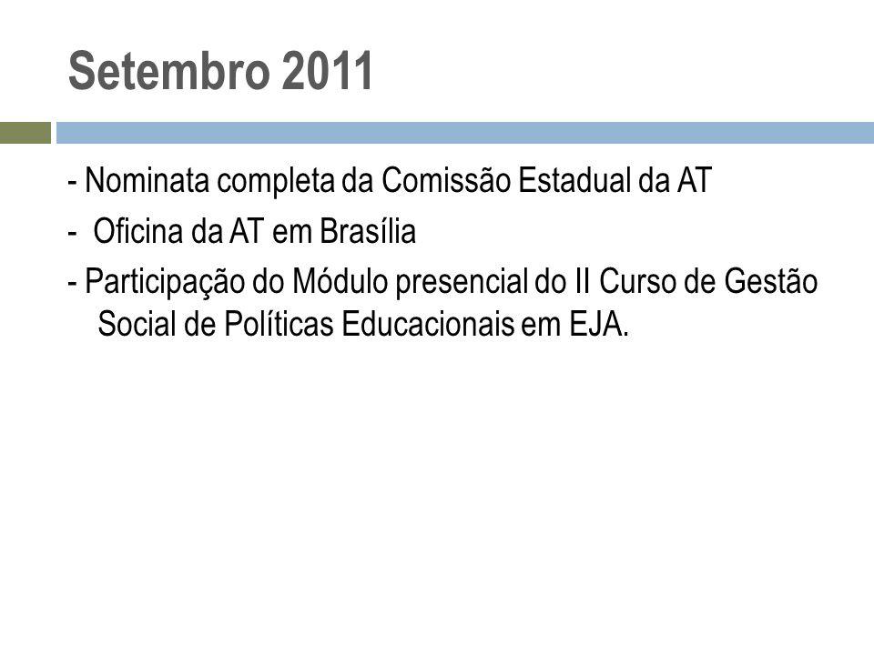 Setembro 2011 - Nominata completa da Comissão Estadual da AT