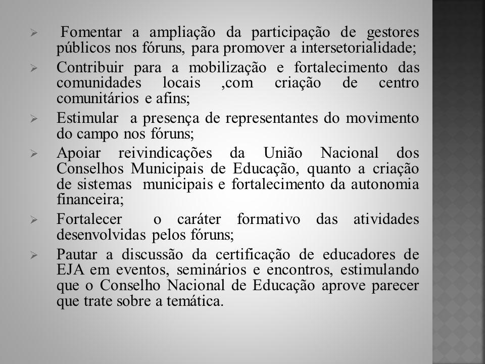 Fomentar a ampliação da participação de gestores públicos nos fóruns, para promover a intersetorialidade;