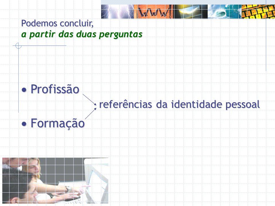 Profissão Formação referências da identidade pessoal
