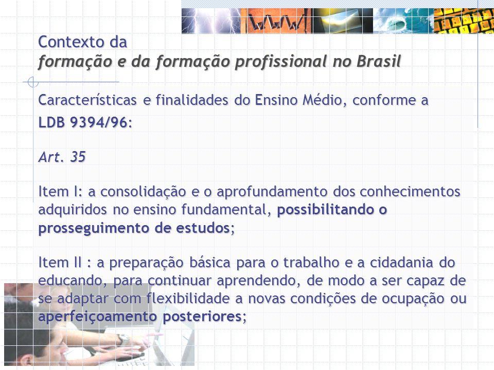 Contexto da formação e da formação profissional no Brasil