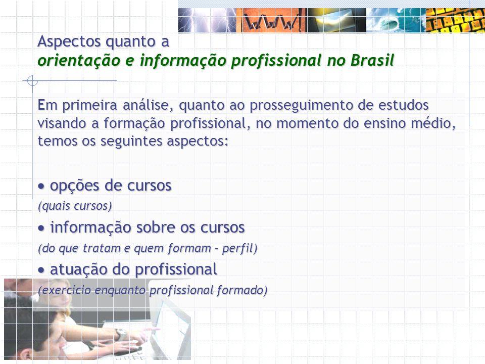 Aspectos quanto a orientação e informação profissional no Brasil