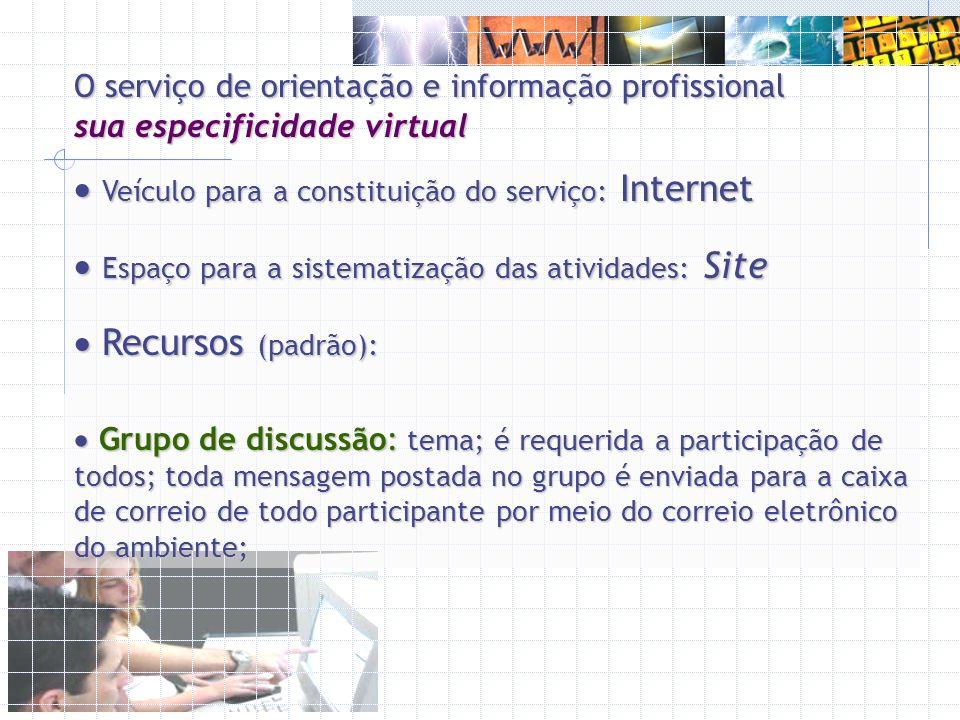 Veículo para a constituição do serviço: Internet