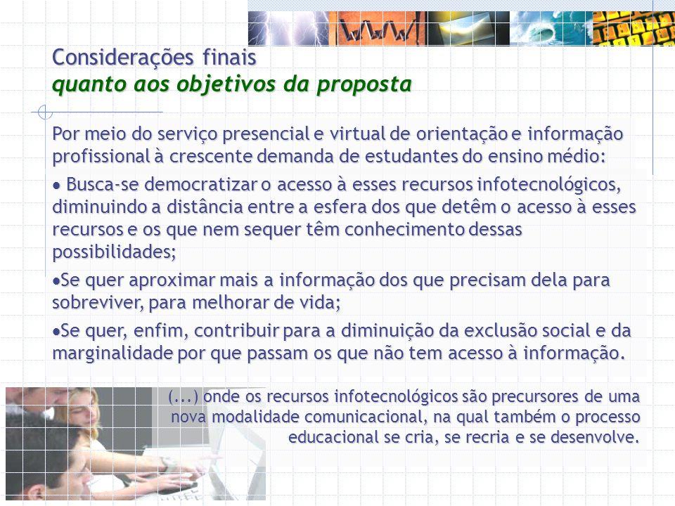 Considerações finais quanto aos objetivos da proposta