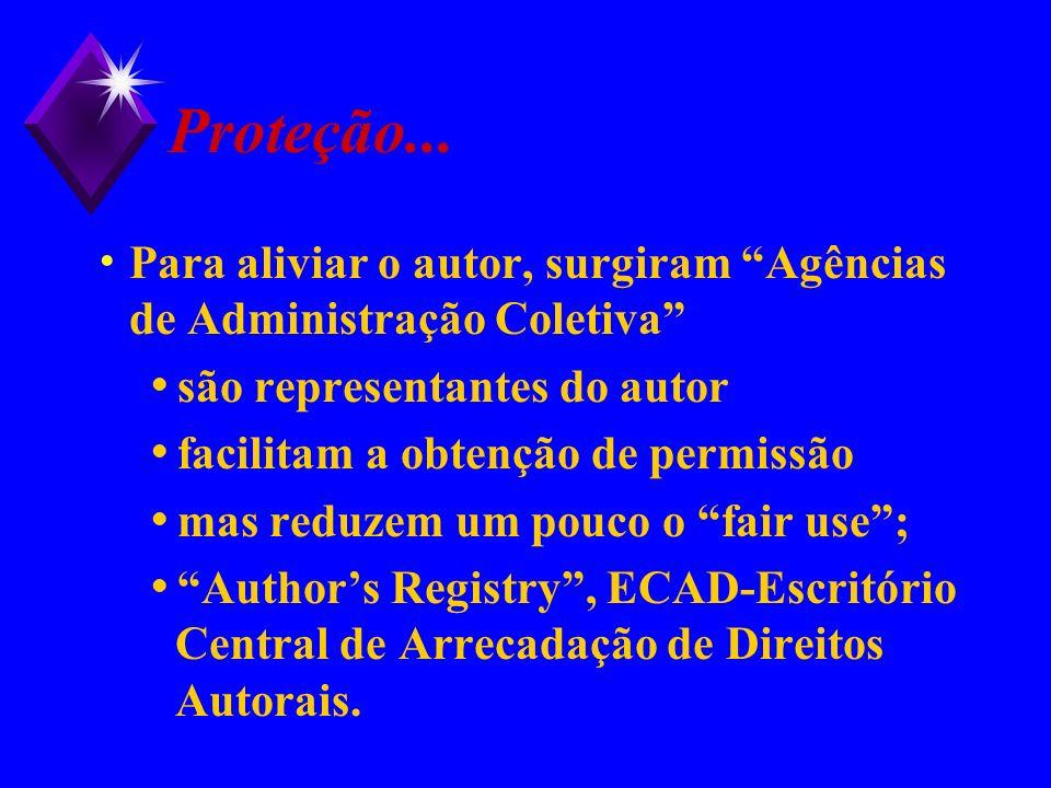 Proteção... Para aliviar o autor, surgiram Agências de Administração Coletiva são representantes do autor.