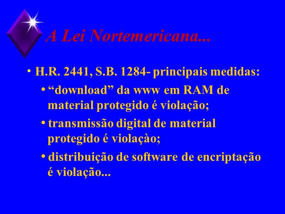 A Lei Nortemericana... H.R. 2441, S.B. 1284- principais medidas: