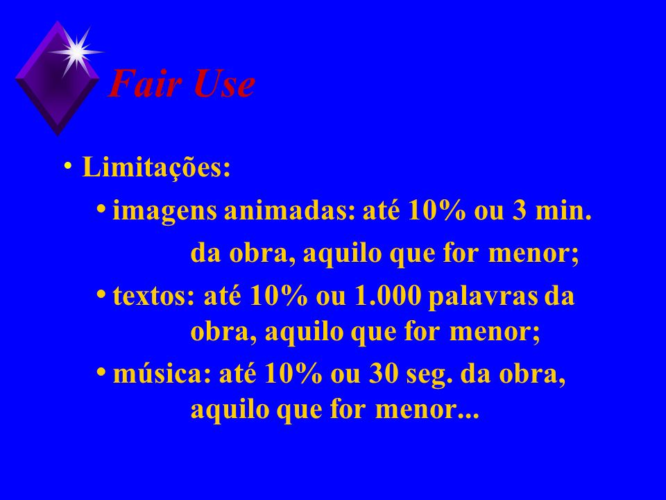 Fair Use Limitações: imagens animadas: até 10% ou 3 min.