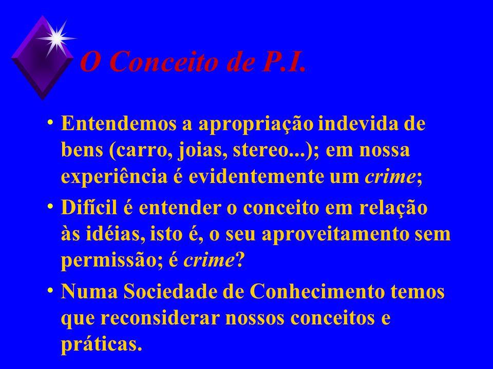 O Conceito de P.I. Entendemos a apropriação indevida de bens (carro, joias, stereo...); em nossa experiência é evidentemente um crime;