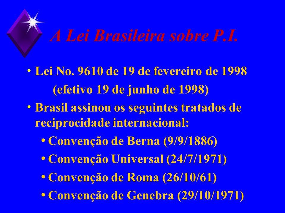 A Lei Brasileira sobre P.I.
