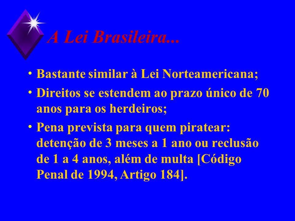 A Lei Brasileira... Bastante similar à Lei Norteamericana;