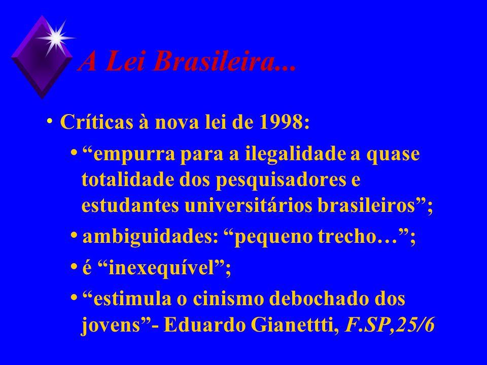 A Lei Brasileira... Críticas à nova lei de 1998: