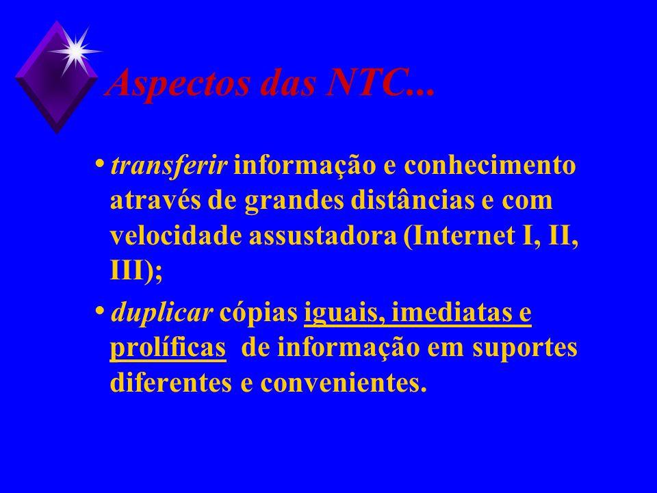 Aspectos das NTC... transferir informação e conhecimento através de grandes distâncias e com velocidade assustadora (Internet I, II, III);