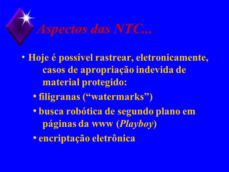 Aspectos das NTC... Hoje é possível rastrear, eletronicamente, casos de apropriação indevida de material protegido: