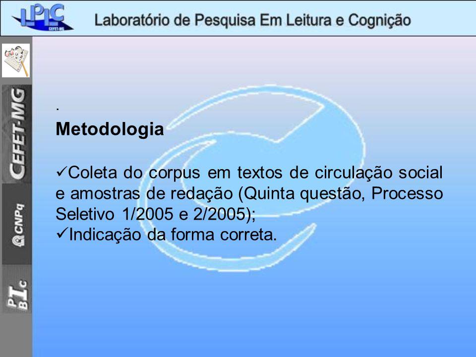 Metodologia Indicação da forma correta. .