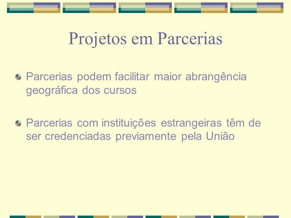 Projetos em Parcerias Parcerias podem facilitar maior abrangência geográfica dos cursos.