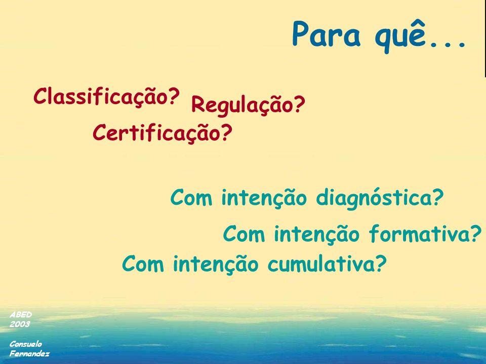 Para quê... Classificação Regulação Certificação