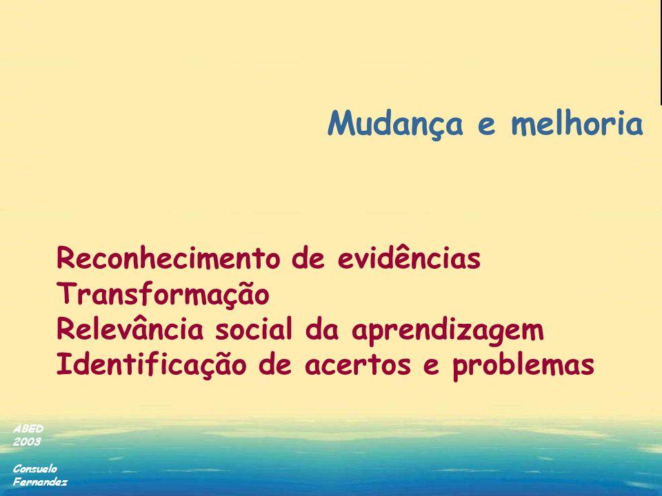 Mudança e melhoria Reconhecimento de evidências Transformação