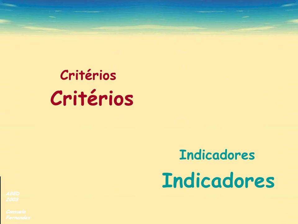 Critérios Indicadores Critérios Indicadores ABED 2003 Consuelo
