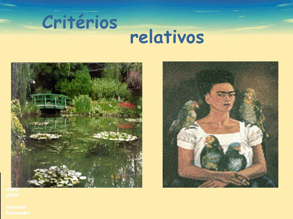 Critérios relativos ABED 2003 Consuelo Fernandez