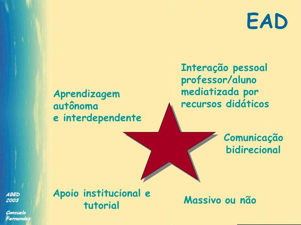 EAD Interação pessoal professor/aluno mediatizada por recursos didáticos. Aprendizagem. autônoma.