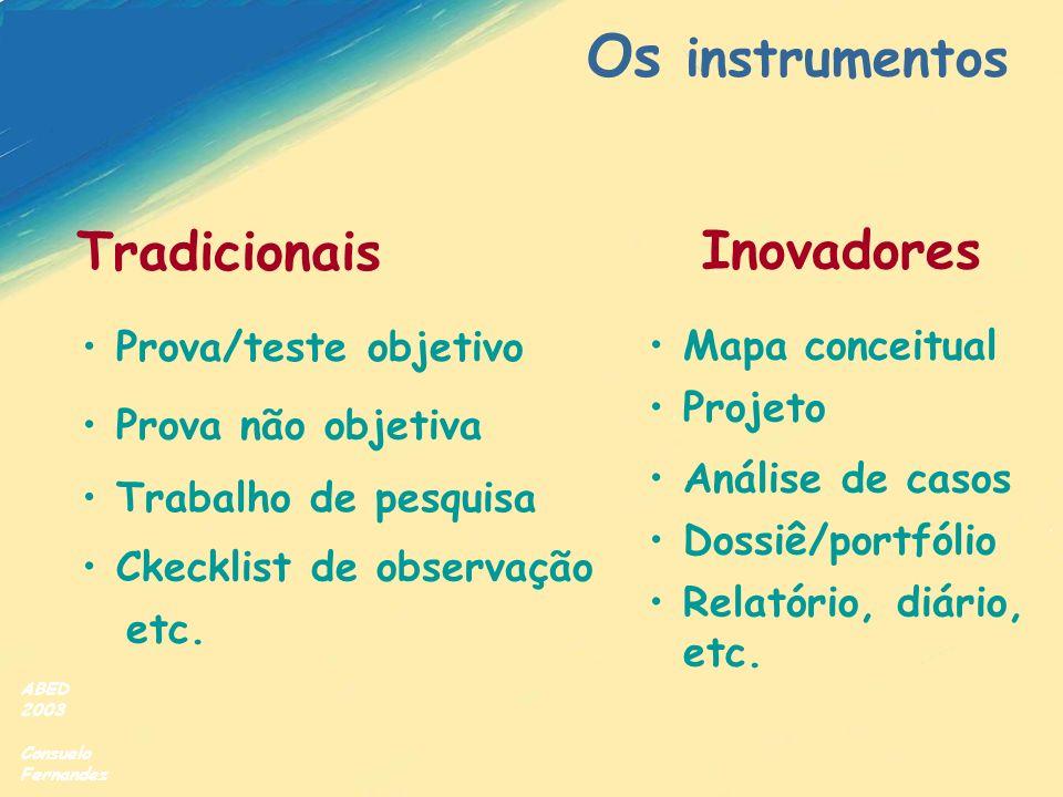 Os instrumentos Tradicionais Inovadores Prova/teste objetivo