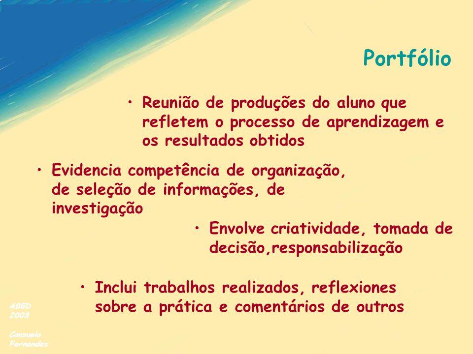 Portfólio Reunião de produções do aluno que refletem o processo de aprendizagem e os resultados obtidos.