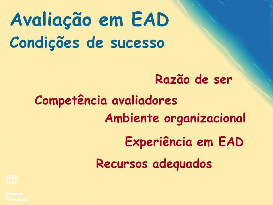 Avaliação em EAD Condições de sucesso