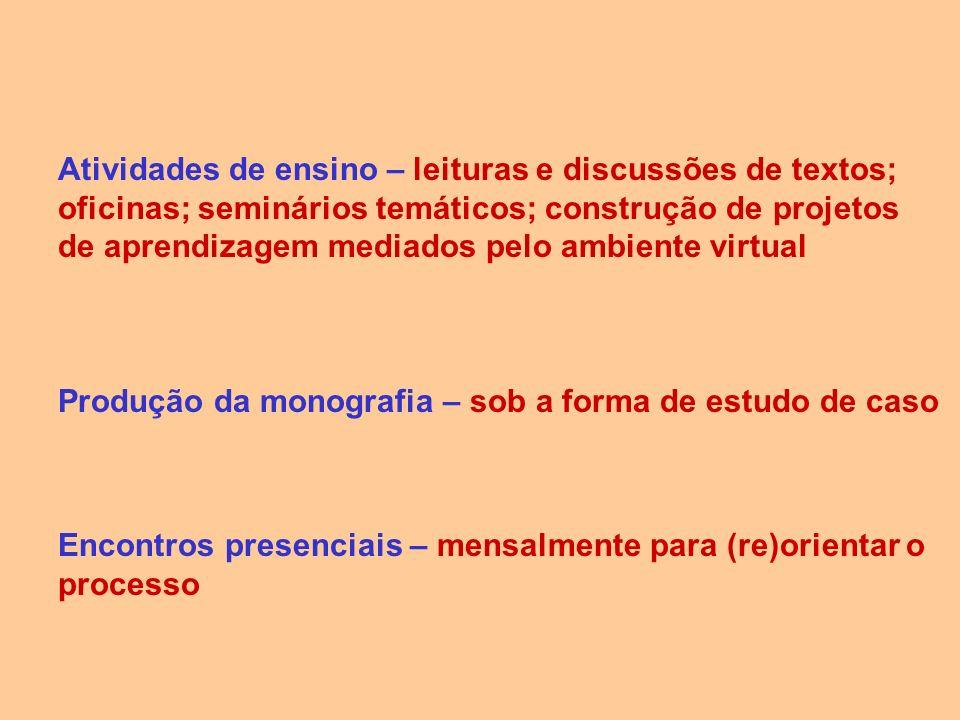 Atividades de ensino – leituras e discussões de textos; oficinas; seminários temáticos; construção de projetos de aprendizagem mediados pelo ambiente virtual