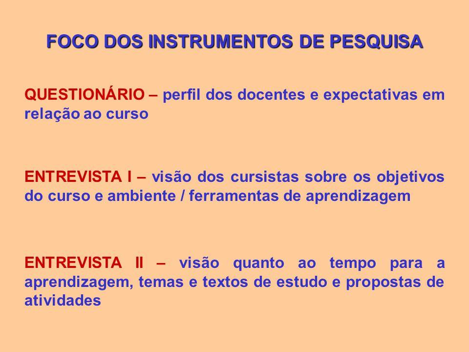 FOCO DOS INSTRUMENTOS DE PESQUISA