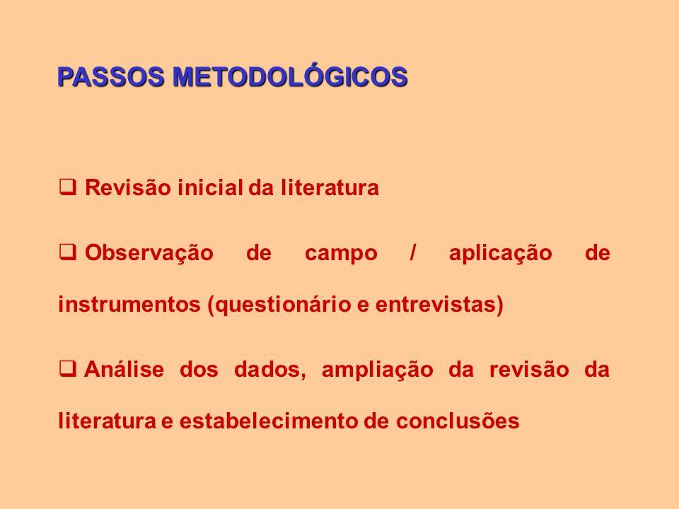 PASSOS METODOLÓGICOS Revisão inicial da literatura