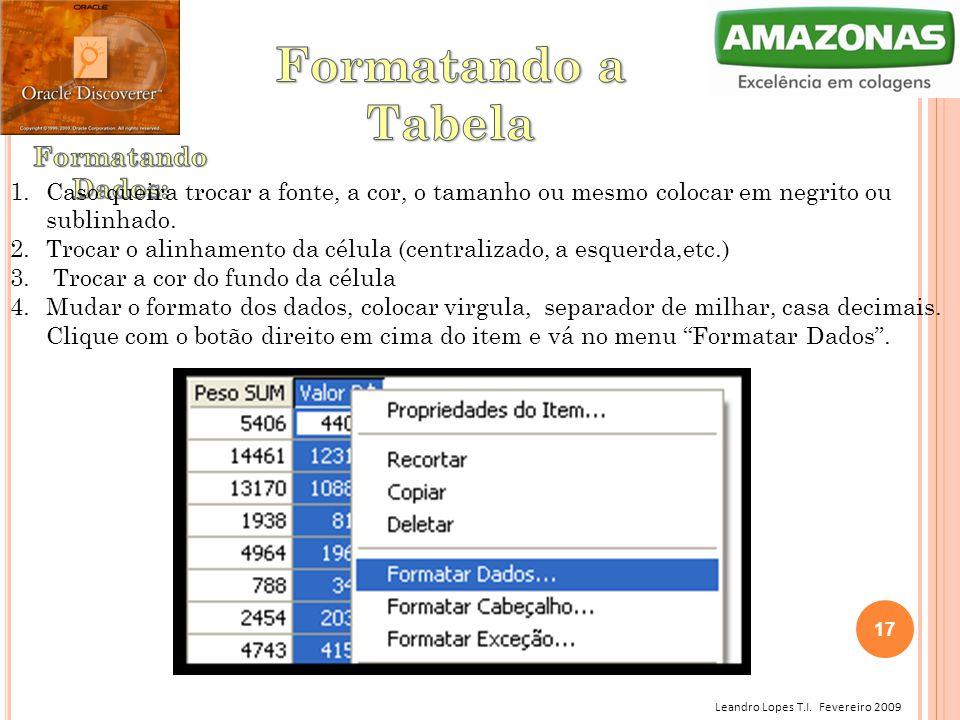 Formatando a Tabela Formatando Dados:
