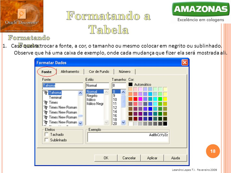 Formatando a Tabela Formatando Fonte: