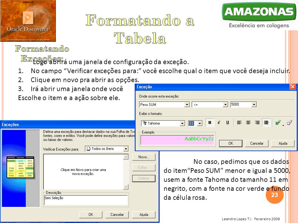 Formatando a Tabela Formatando Exceções: