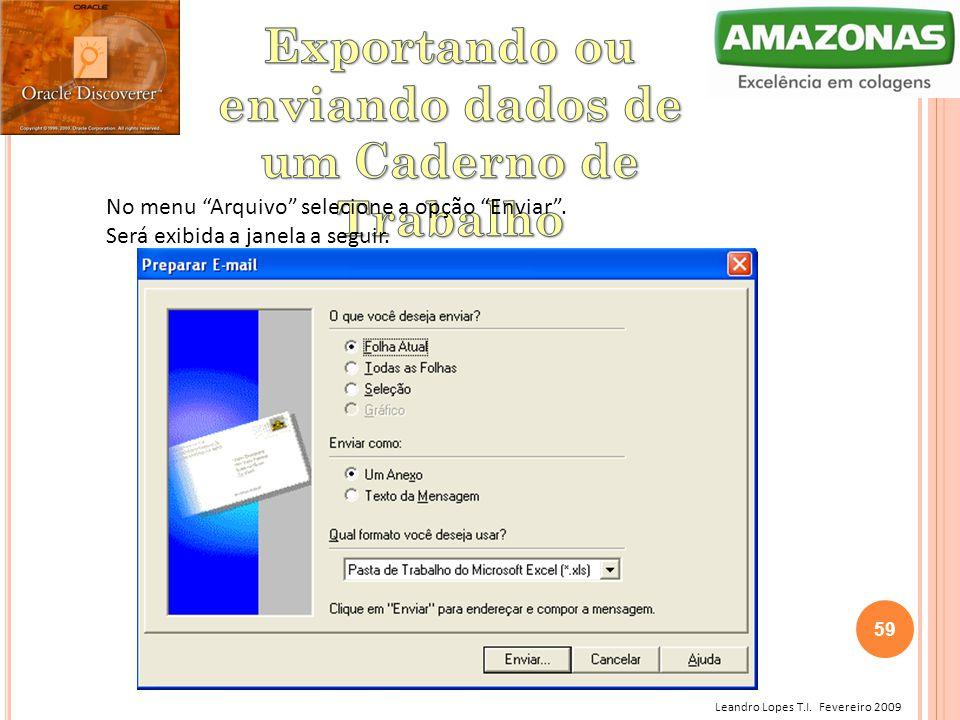 Exportando ou enviando dados de um Caderno de Trabalho
