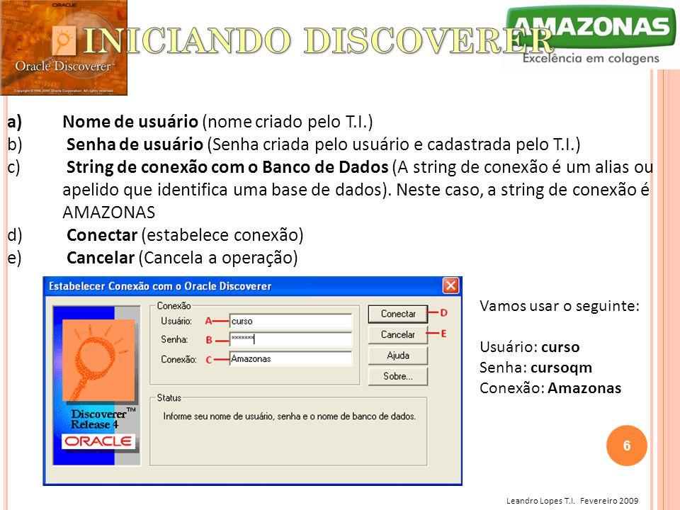 INICIANDO DISCOVERER Nome de usuário (nome criado pelo T.I.)