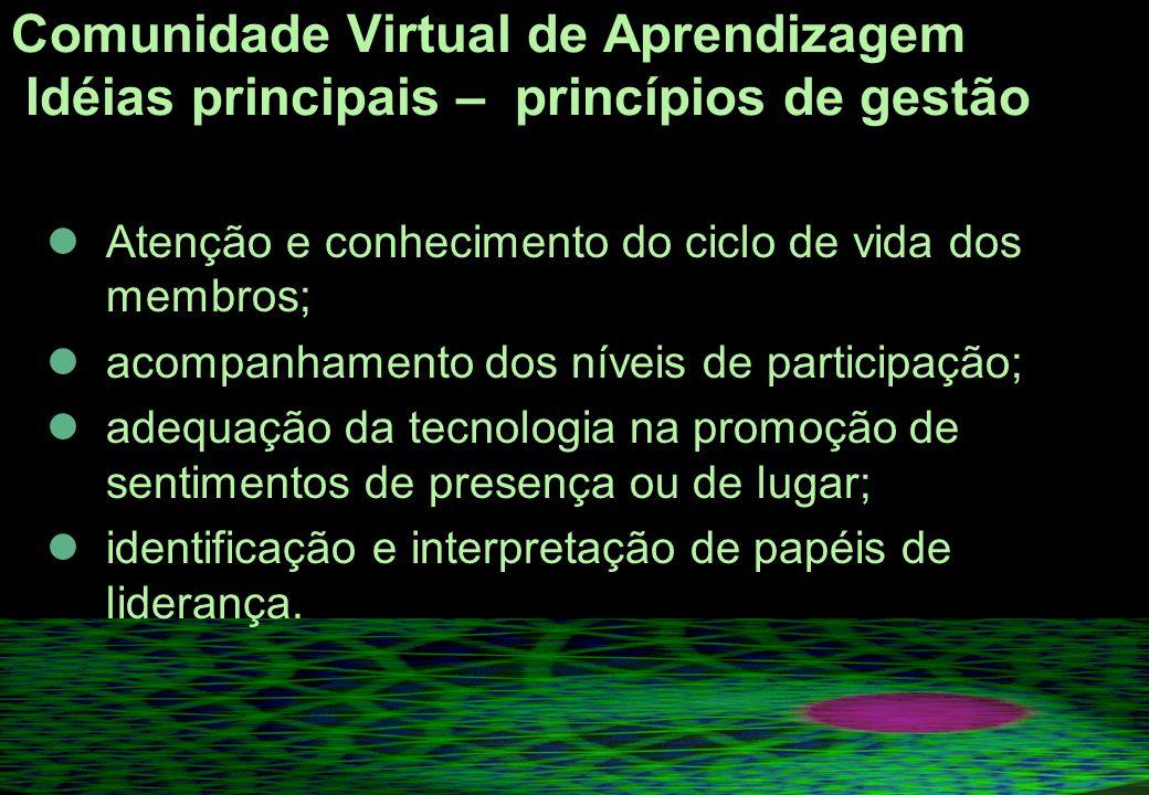 Comunidade Virtual de Aprendizagem Idéias principais – princípios de gestão