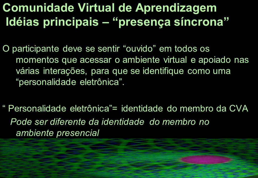 Comunidade Virtual de Aprendizagem Idéias principais – presença síncrona