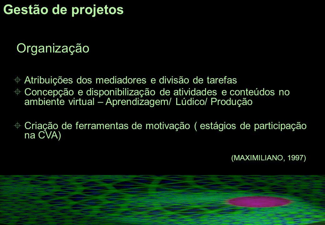 Gestão de projetos Atribuições dos mediadores e divisão de tarefas
