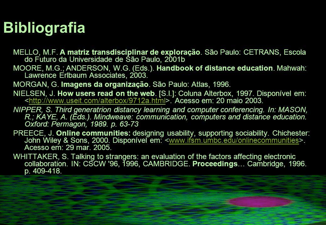 Bibliografia MELLO, M.F. A matriz transdisciplinar de exploração. São Paulo: CETRANS, Escola do Futuro da Universidade de São Paulo, 2001b.