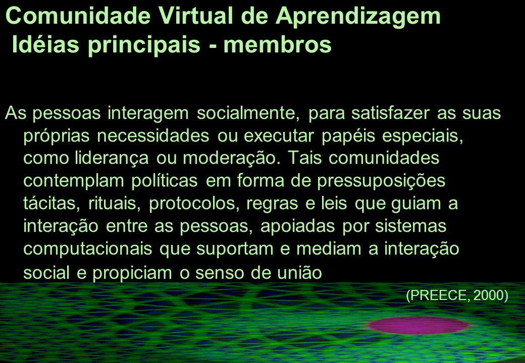 Comunidade Virtual de Aprendizagem Idéias principais - membros