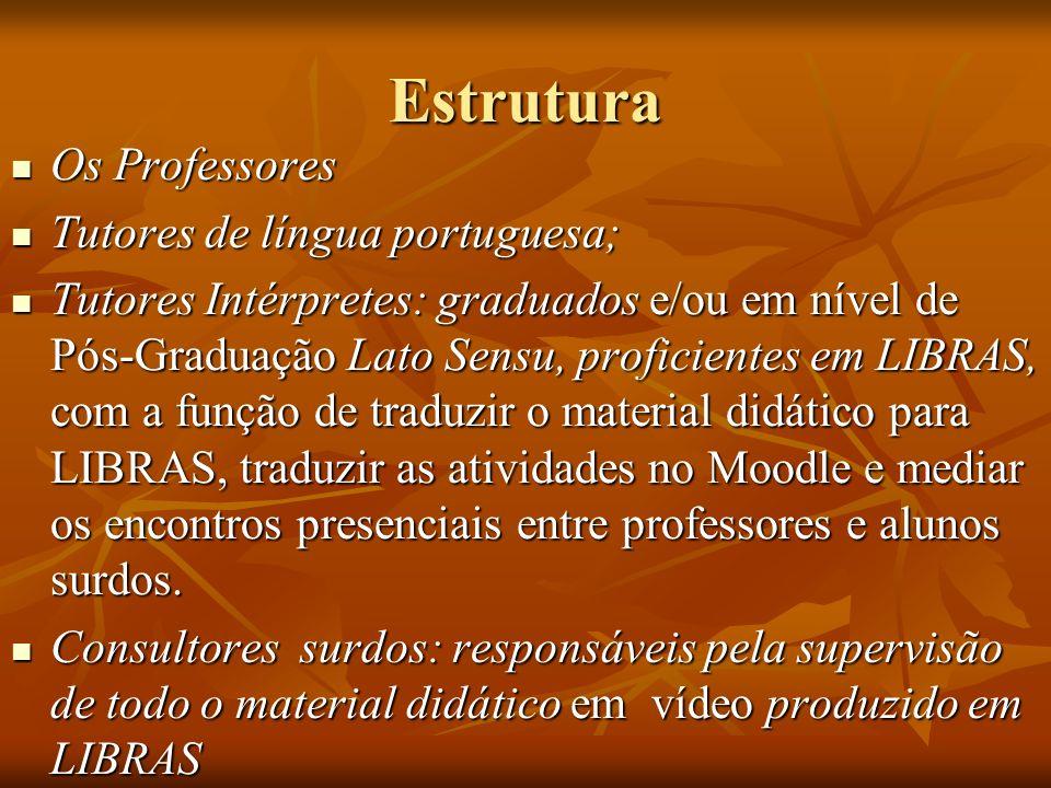 Estrutura Os Professores Tutores de língua portuguesa;