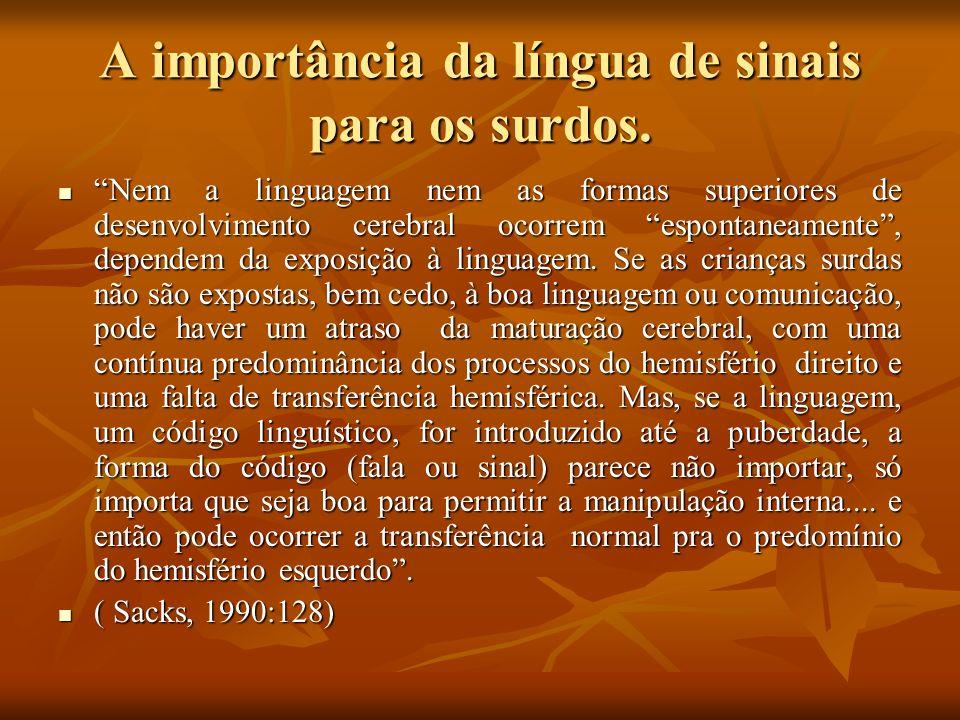 A importância da língua de sinais para os surdos.