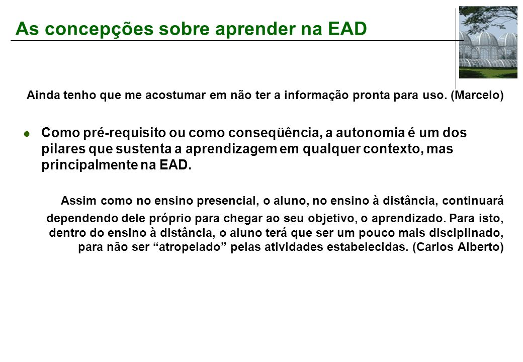 As concepções sobre aprender na EAD