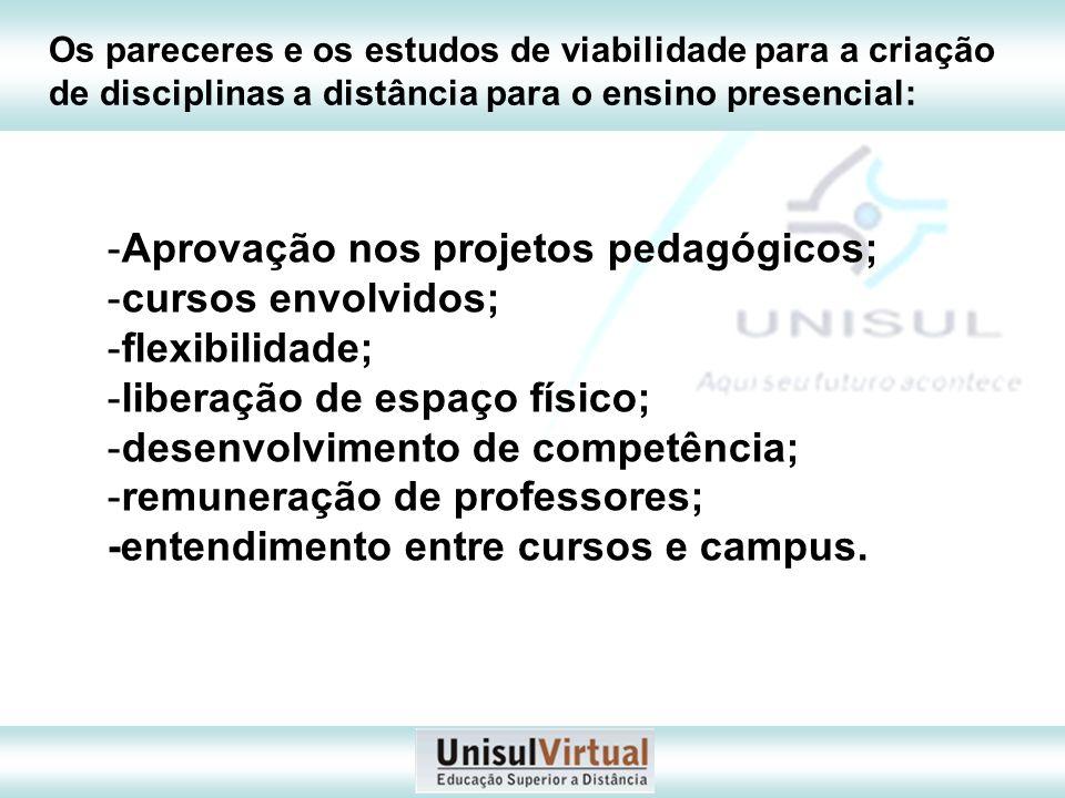 Aprovação nos projetos pedagógicos; cursos envolvidos; flexibilidade;